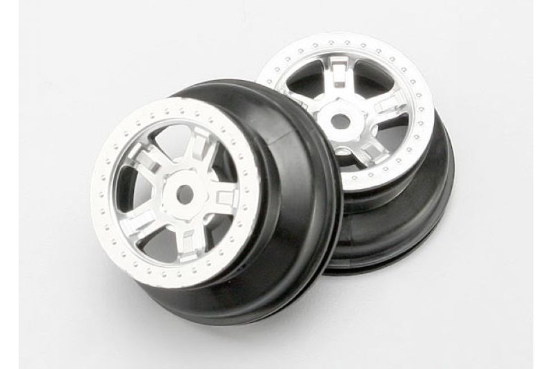 Wheels, SCT satin chrome, beadlock style, dual profile (1.8'' inner, 1.4'' outer