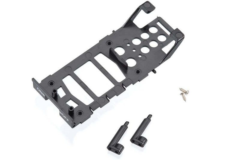 Main frame, battery holder (1)/ canopy mounting posts (2)/ screws (2)