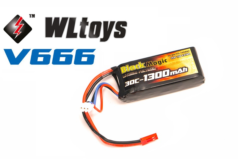 LiPo 7,4В(2S) 1300 mAh 30C Soft Case JST-BEC plug (for WLToys V666)