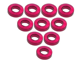 Aluminium M3 Flat Washer 1.5mm (10 Pcs) - Red
