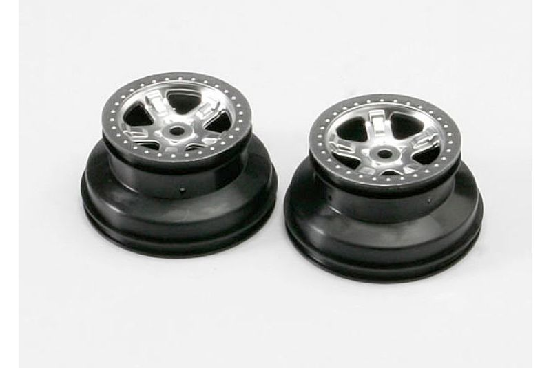 Wheels, SCT satin chrome, beadlock style, dual profile (2.2'' outer 3.0'' inner)