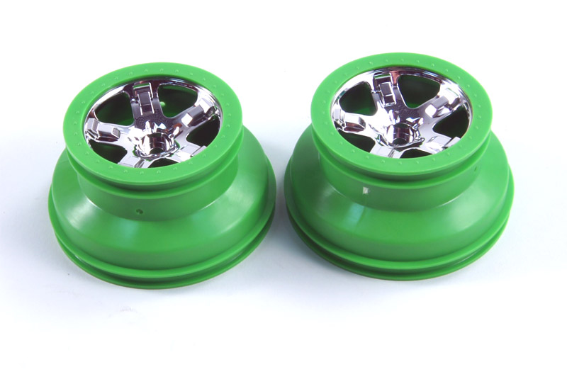 Wheels, SCT, chrome, green beadlock style, dual profile (2.2'' outer 3.0'' inner