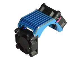 Brushless 540 Motor Heatsink -Twin W/ Cooling Fan - Light Blue