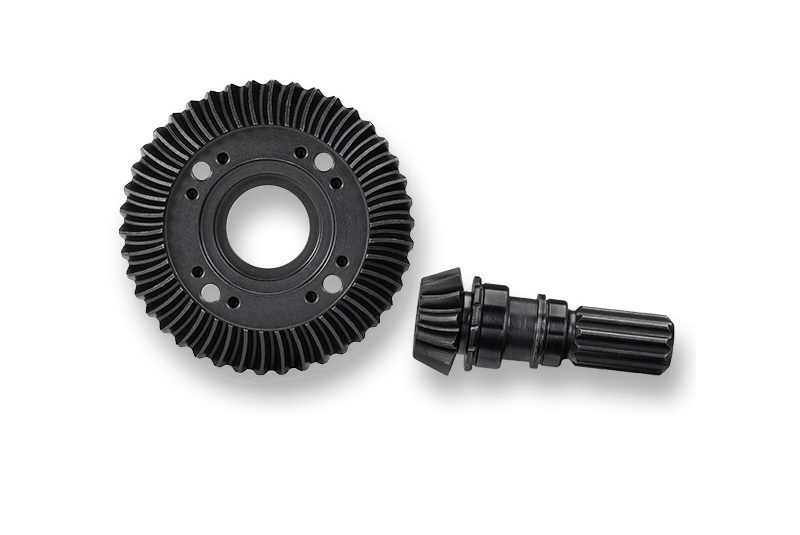 Ring gear, differential/ pinion gear, differential (machined, spiral cut) (front)