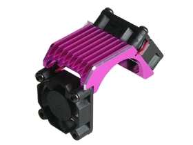 Aluminium Brushless 540 Motor Heatsink -Twin W/ Cooling Fan - Pink