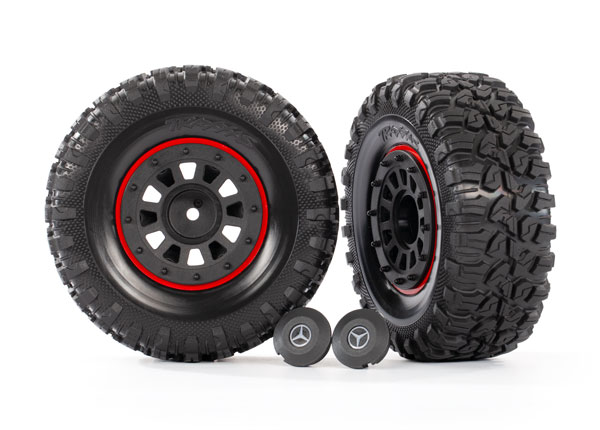 Шины и диски, в сборе, проклеены (2.2'' black Mercedes-Benz® G 63® wheels, Canyon RT 4.6x2.2'' tires) (2)/ center caps (2)/ beadlock rings (2) (requires #8255A extended stub axle)