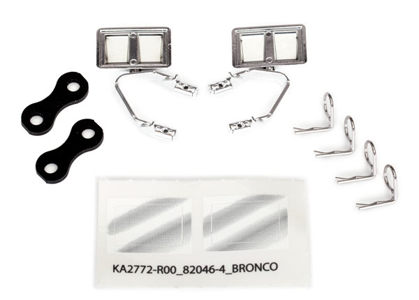 Mirrors, side, chrome (left and right): retainers (2): body clips (4) (fits #8010 body)